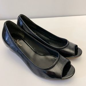 Cole Haan Black Peep Toe Wedges Nike Air 6.5